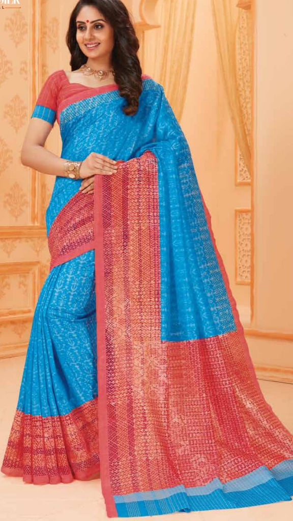 Blue Red Bhagalpuri Silk Sarees