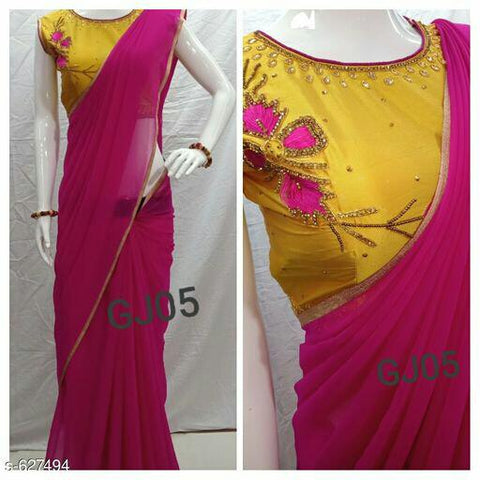 Pink, Blue Georgette Sarees