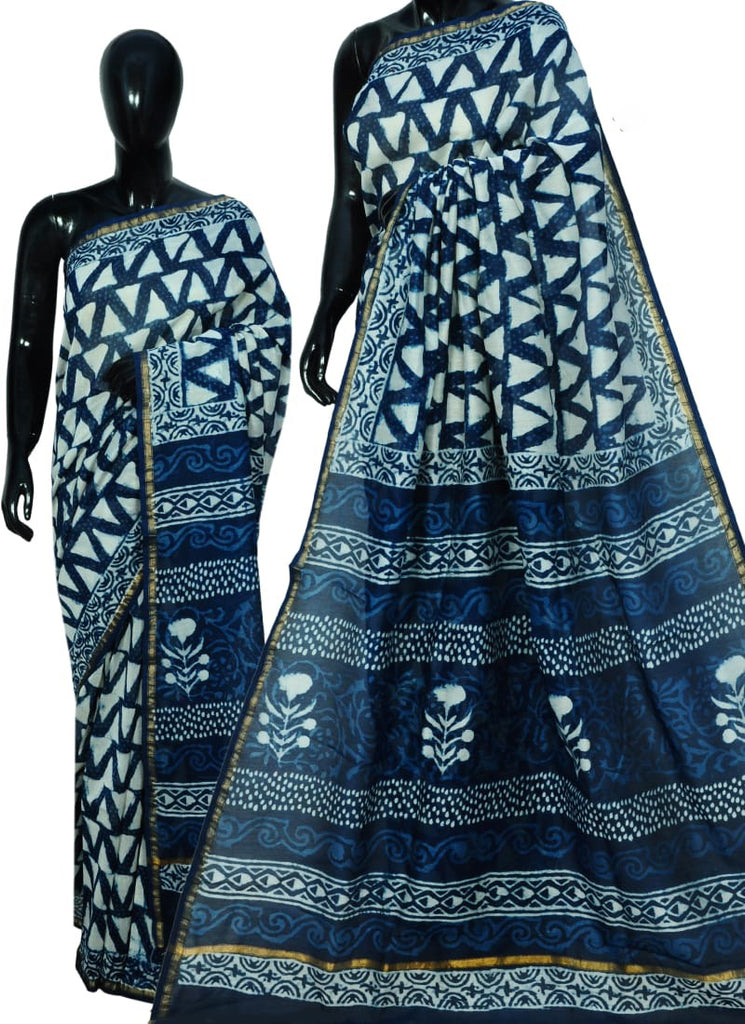 Blue Bagru Printed Cotton Sarees