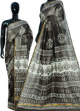 Grey Bagru Printed Cotton Sarees