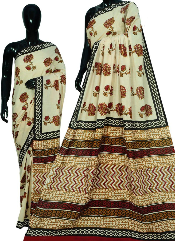 Beige Bagru Printed Cotton Sarees