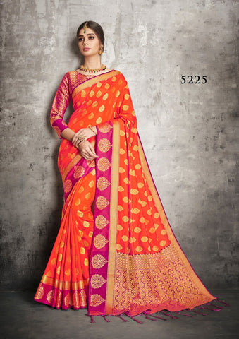 Orange Banarasi Silk Sarees