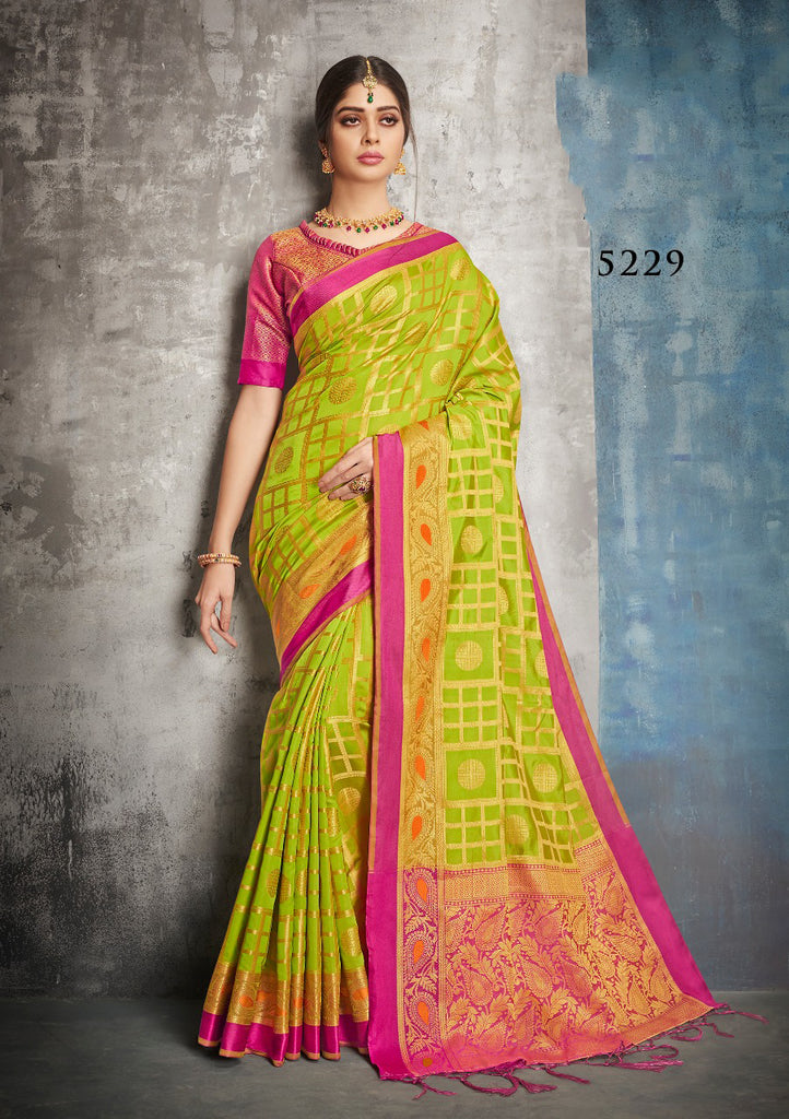 Green Yellow Banarasi Silk Sarees