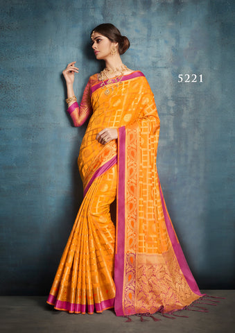 Yellow Banarasi Silk Sarees