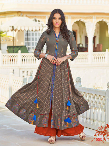 Beige & Red Chanderi Cotton Salwar