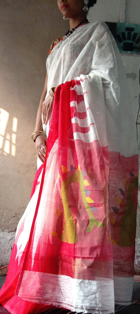 White Red Matka Silk Sarees