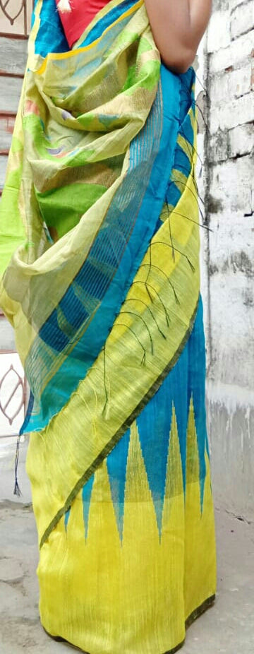 Yellow Blue Matka Silk Sarees