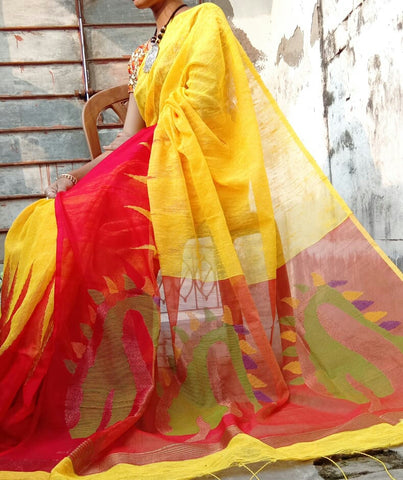 Yellow Red Matka Silk Sarees