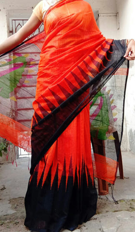 Orange Black Matka Silk Sarees