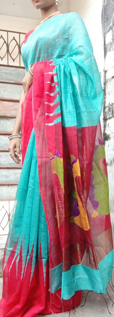 Blue Red Matka Silk Sarees