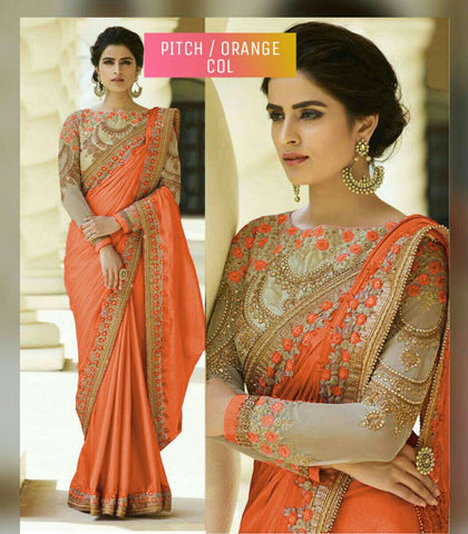 Orange Designer Party Wear Sarees