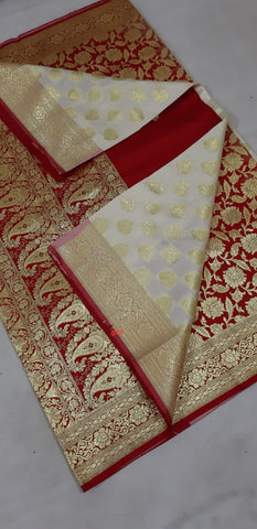Red Beige Koriyal Banarasi Silk Sarees