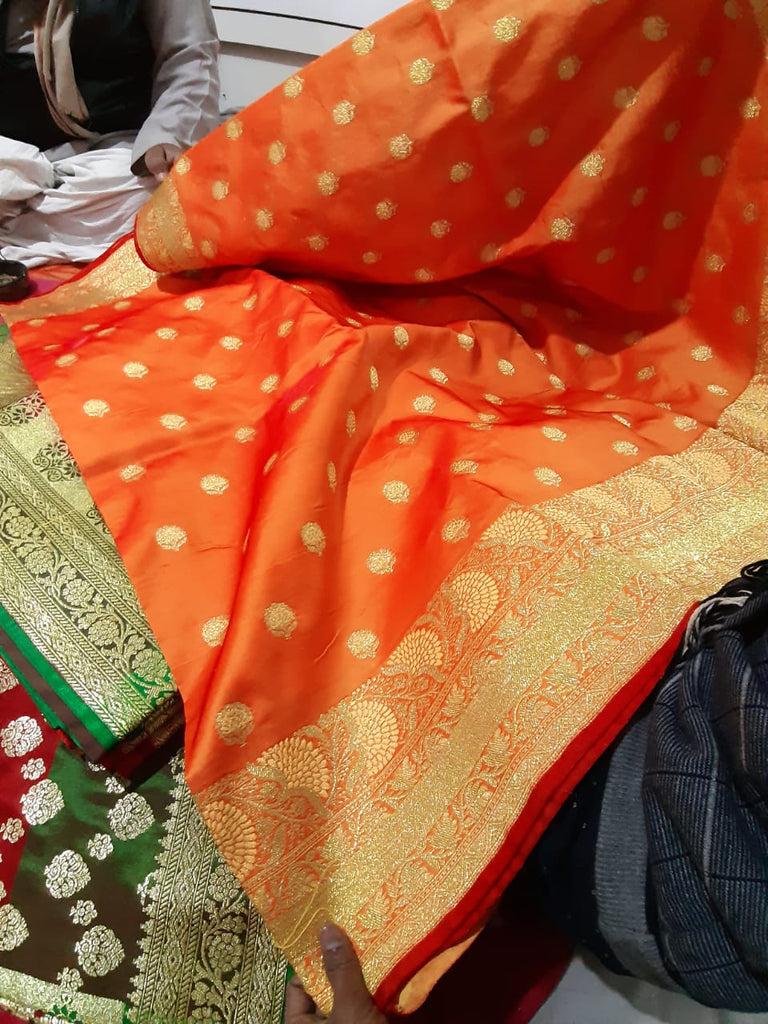 Orange Beige Koriyal Banarasi Silk Sarees
