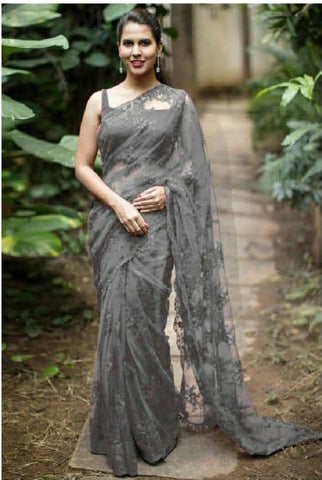 Grey Designer Party Wear Sarees