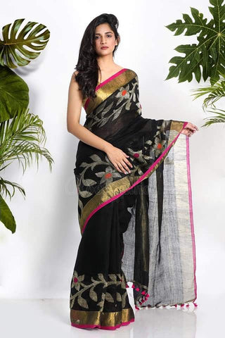 Green ,Yellow Dhakai Jamdani Sarees