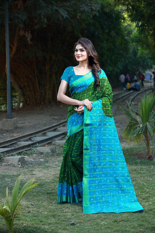 Green Blue Cotton Silk Sarees