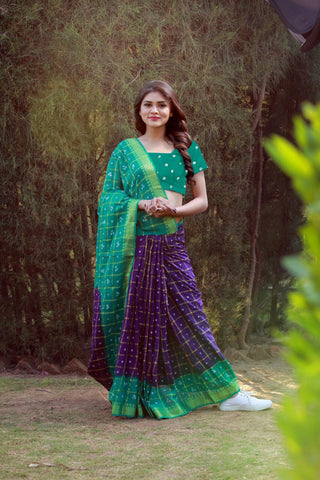 Purple Blue Cotton Silk Sarees
