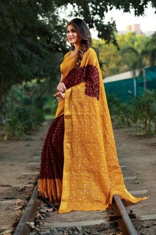 Brown Yellow Cotton Silk Sarees