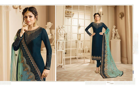 Stunning White Blue Semi-Stitched Georgette Santoon Naznin Anarkali Salwar