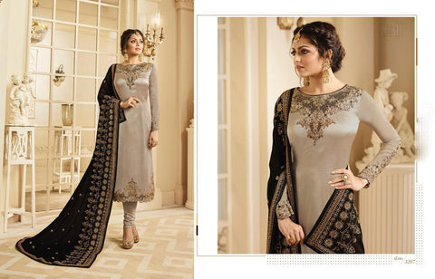 Grey UnStitched Crepe Georgette Salwar