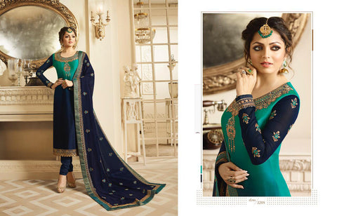 Blue UnStitched Crepe Salwar
