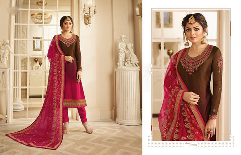 Black & Pink Semi-Stitched Georgette Santoon Anarkali Salwar