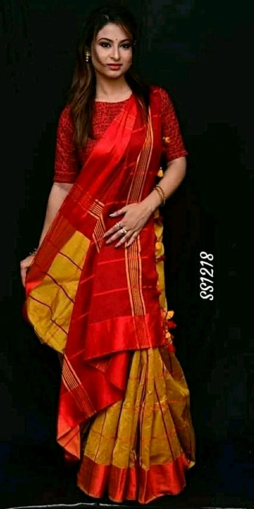 Red Yellow Cotton Silk Sarees