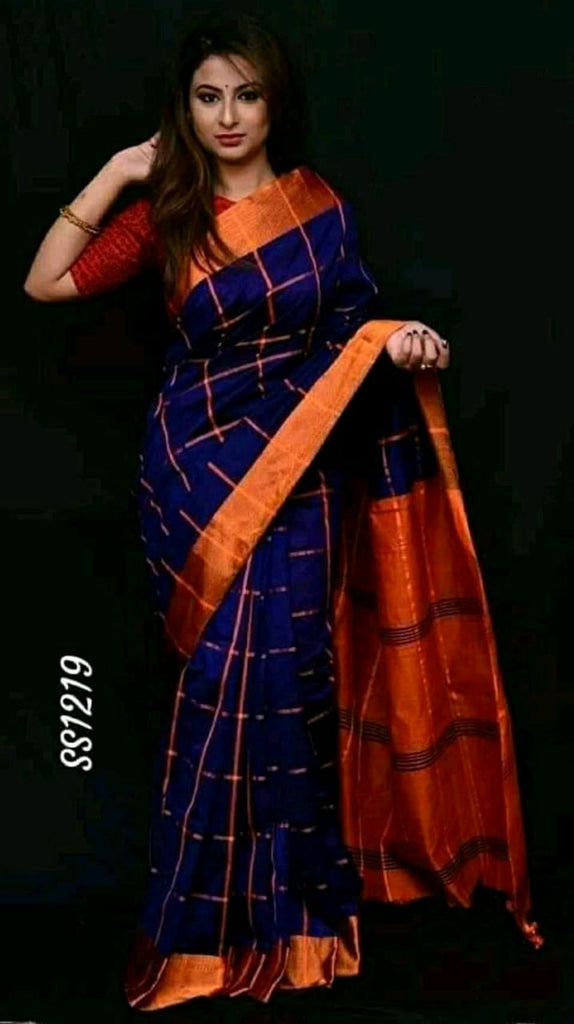 Blue Orange Cotton Silk Sarees