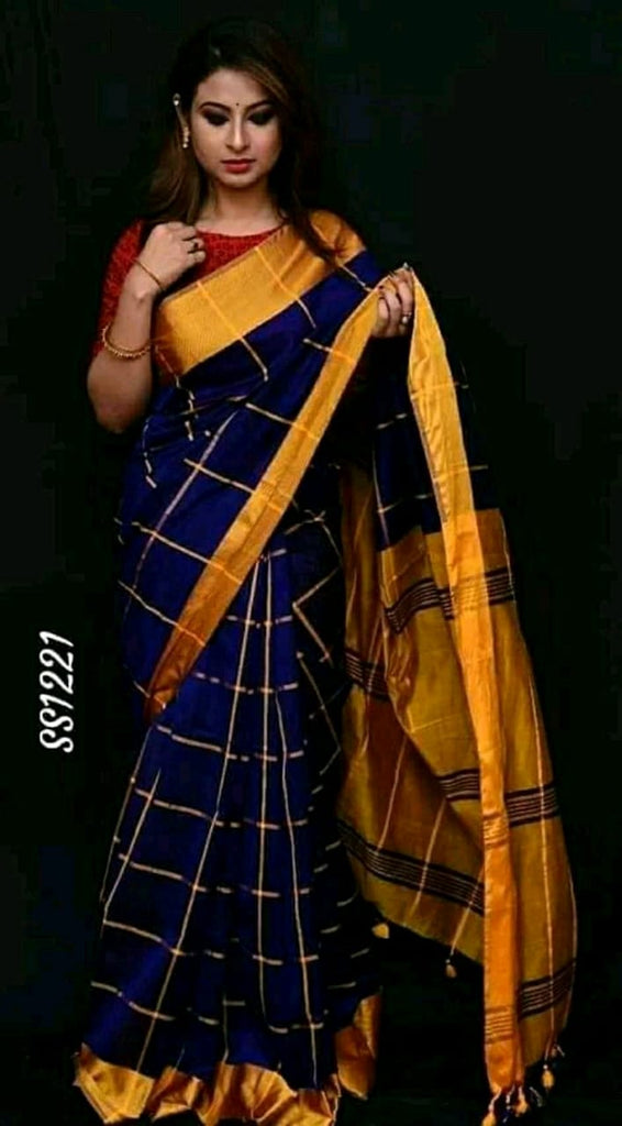 Blue Yellow Cotton Silk Sarees