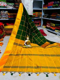 Green Yellow Cotton Silk Sarees