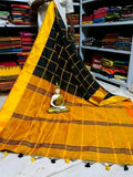 Black Yellow Cotton Silk Sarees
