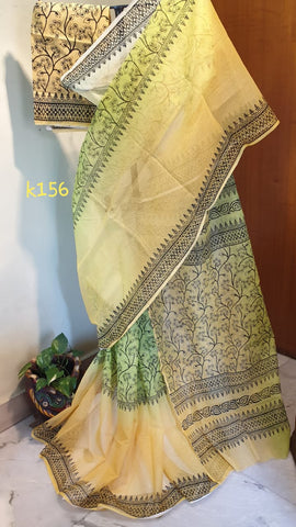Yellow Green KK Kota Doriya Sarees