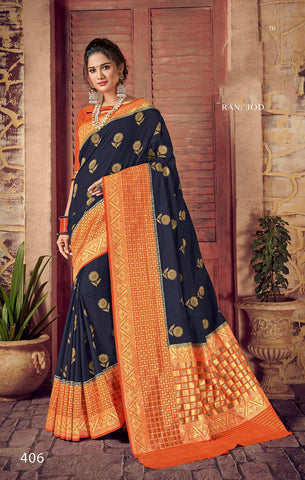 Blue Orange Designer Party Wear Sarees