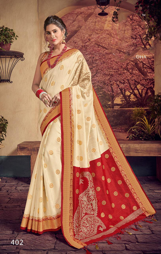 Beige Red Designer Party Wear Sarees