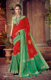 Red Green Designer Party Wear Sarees