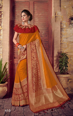 Yellow Red Designer Party Wear Sarees
