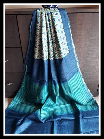 Blue Pure Murshidabad Silk Sarees (Add to Cart Get 15% Extra Discount)