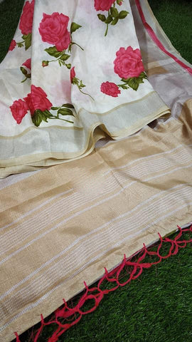 Beige Cotton Silk Sarees