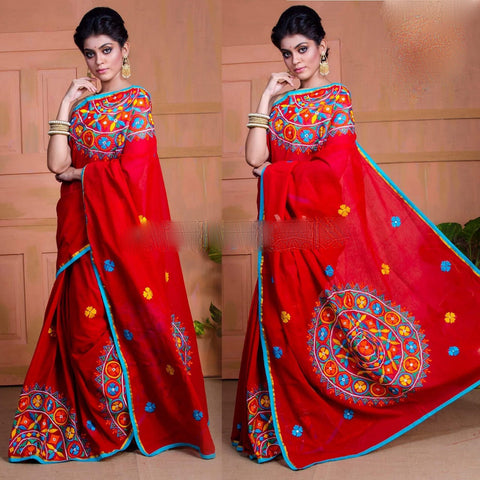 Red Kachi Work Cotton Silk Sarees