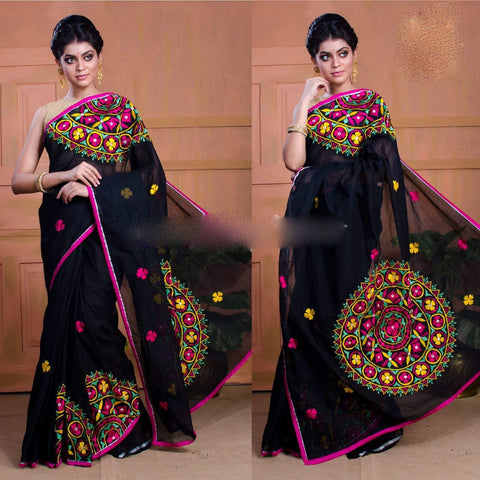 Black Kachi Work Cotton Silk Sarees