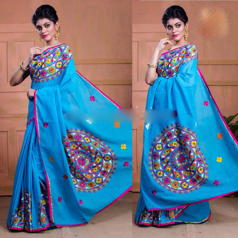 Blue Kachi Work Cotton Silk Sarees