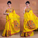 Yellow Kachi Work Cotton Silk Sarees