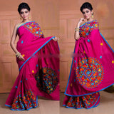 Violet Kachi Work Cotton Silk Sarees