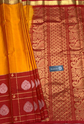 Pink Golden Kanchivaram Silk Sarees