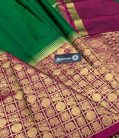 Green Red Golden Kanjivaram Silk Sarees