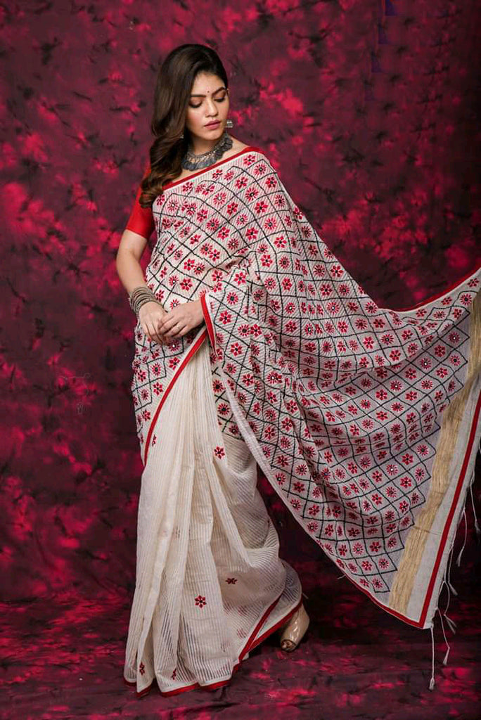 Beige Cotton Work Designer Party Wear Sarees