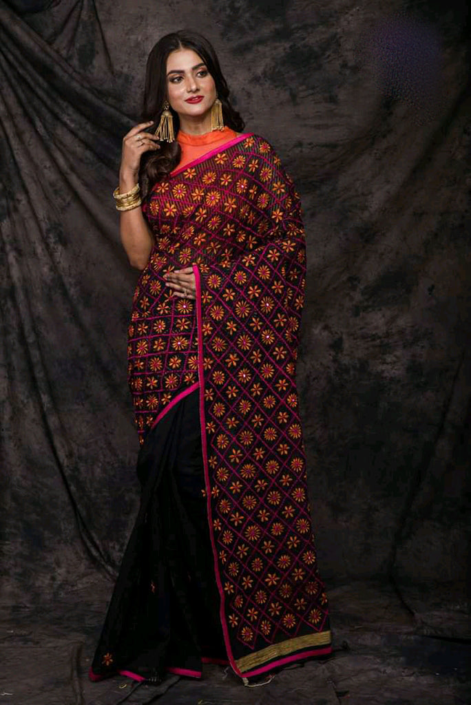 Black Cotton Work Designer Party Wear Sarees