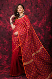 Red Cotton Work Designer Party Wear Sarees