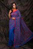Blue Cotton Work Designer Party Wear Sarees