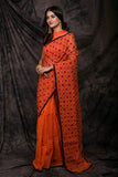 Orange Cotton Work Designer Party Wear Sarees
